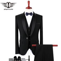 8afb20c5826f1 Plyesxale vestito nero uomini 2018 Slim Fit sposo abiti da sposa per uomo  alla moda di marca collo scialle formale abito formale abiti Q128