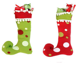 christmas gift boot Promo Codes - New Cute Santa Claus Elf Shoe Boots Suspenders Pant Candy Gift Bag Small Sack Stocking Filler Boot Pendant Christmas Decoration Epacket