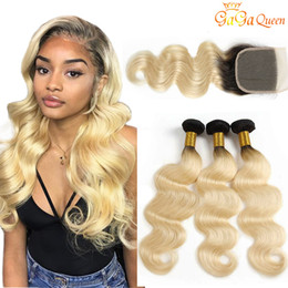 Capelli vergini biondi miele online-Ombre Color 1B 613 Body Wave 3 Bundles con chiusura in pizzo 4x4 Dark Roots Honey Blonde Virgin Human Hair