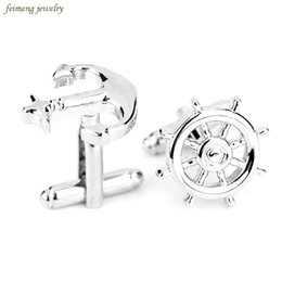 Wholesale Gold Jewellery For Men - Hot Sale New Fashion Jewellery Silver Plated Anchor Cufflinks Male French Shirt Cuff Links For Men Women Top Grade Jewelry Gifts