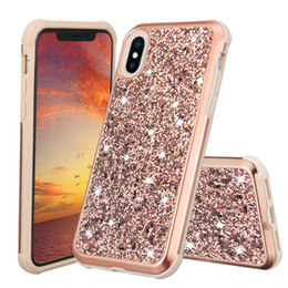 Wholesale wholesale champagne diamonds - Glitter Diamond Case For iPhone X Galaxy S9 Plus Hybrid Two in One Protective Sparkle Shiny Bling Cover Case For Samsung S8 Plus in OPP Bag