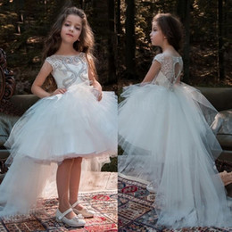 9577c53880c 2018 High Low Crystal Flower Girls Dresses For Weddings Lace Appliqued  Princess Tutu Boho First Communion Dress Cheap Pageant Ball Gowns