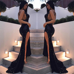Wholesale Bling Crosses - Bling Bling Sexy Black Girls Mermaid Prom Dresses 2018 Long Sequined Dresses Floor Length High Side Split Backless Formal Evening Party Gown