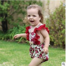 Wholesale Cute Lace Rompers - INS Baby girls cute rompers Toddler kids roses printed lace-up Bows jumpsuit 2018 new Summer Infants splicing falbala sleeves rompers C2712