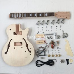 Wholesale Guitar Neck Style - Afanti Mahogany Body and Neck maple veneer Semi hollow body LP Standard style DIY Electric guitar Kit