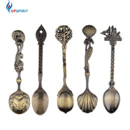 Wholesale Royal Cutlery Set - 5 Pcs  Set Kitchen Dining Bar Vintage Royal Style Bronze Carved Small Coffee Spoon Flatware Cutlery Mini Dessert Spoon For Snacks