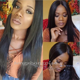 hair simulation Coupons - FZP Fashion Long Straight Wig Black Peruvian Glueless Simulation Human Full Hair Wigs Virgin Long Hair None Lace Wig For Black Women
