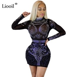 mesh dress crystals Coupons - Liooil Women Crystal Dress Long Sleeve Bodycon See Through Mesh Dress Black Wine Red Apricot Diamonds Sexy Club Party Dresses