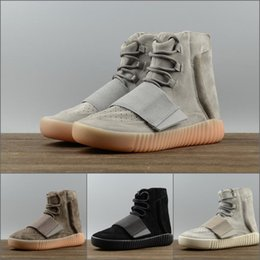 Wholesale Womens Gray Boots - With Box SPLY 750 Boost 2018 High Running Sports Shoes Gray khaki brown black ankle boots Mens Womens Sneakers US 5-11.5