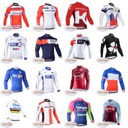 2019 ciclismo de invierno fdj FDJ IAM KATUSHA KUOTA LAMPRE team Ciclismo Winter Thermal Fleece camiseta pro team Deporte al aire libre Jersey Jersey Tops D0414 ciclismo de invierno fdj baratos