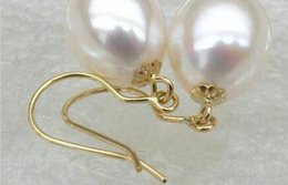 Wholesale Yellow Pearl Dangle Earrings - New natural beautiful Jewelry Women Genuine 10*12mm AAA+++ drop white south sea pearl dangle earring 14k yellow gold