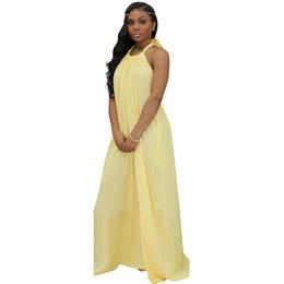 398713125d8 Solid Color Summer Dress 2018 Women Halter Sleeveless Long Chiffon Dress  Casual Backless Pocket Loose Beach Maxi Sundress