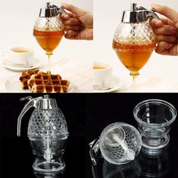 Wholesale Dispenser Cups - New 200ML Honey Dispenser Jar Container Cup Juice Syrup Kettle Kitchen Bee Drip Stand Holder Portable Acrylic Storage Pot