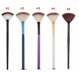 Wholesale Large Makeup Fan Brush - Soft Nylon Hair Large Fan Makeup Brush Big Fan Shape Face Blush Powder Foundation Cosmetics Make Up Brush Beauty Tool