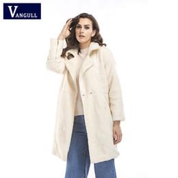 575865c864d Women Faux Sheep Cashmere Coat Ladies Elegant Fashion Faux Fur Long Jacket  Autumn Winter Outwear casaco feminino VANGULL 2018