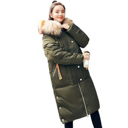 fcc45d8c44e Women s Clothing Winter Down Cotton Coats 2018 New Female Long Hooded Big  Fur Collar Han Edition Student Parkas Jackets ZS513