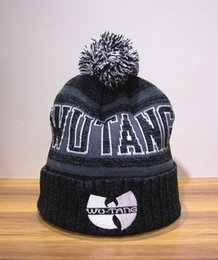 Wholesale Wu Tang Hats - Wu Tang Clan Embroidery Beanies Pom-pom Knitted Caps Men Women Sport Cotton Four Leaf Clover Hats Hight Quality