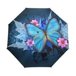 Fille de fleur de peinture à l'huile en Ligne-Papillon sur la peinture à l'huile de parapluie de femmes des fleurs 3 pliant Parasol Mode Lady Portable Fille Childrend Umbrella Gift
