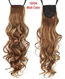"""24 """"(60 cm) 12H24 Clip de cola de caballo con cordón de cinta rizada larga de color mezclado en peluquería extensiones de cabello desde fabricantes"""