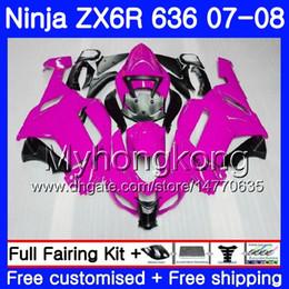 Argentina Cuerpo Para KAWASAKI NINJA ZX-636 ZX600 ZX636 ZX-6R 07 08 209HM.41 ZX 636 6 R 600CC ZX6R 07 08 Carrocería ZX 6R Rosa brillante 2007 2008 Carenado supplier pink kawasaki ninja zx6r Suministro