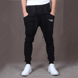 Wholesale harem pants crotch - Wholesale- 2017 New Men Joggers Pants Casual Side Stripe Skinny Sweatpants Low Drop Crotch Harem Pants Shark Pants Black
