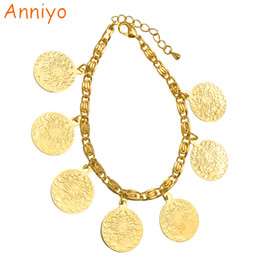 Wholesale Jewelry Turkey Gold Bracelet - Anniyo 19cm Turkey Coin Bracelet for Women,Ethnic Metal Coins Jewelry Arab Wedding Gift Turks Middle East African Gifts #008201