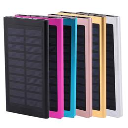 Batería solar portable del teléfono celular online-Ultra delgado Banco de Energía Solar 20000 mAh Batería Externa Portátil Universal Cargadores PowerBank para iPhone IPAD Android Smartphone