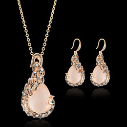 Wholesale opal bridal set - Fashion Opal Jewelry Sets For Woman Cubic zirconia Water Drop Necklace Pendant Earrings Statement Bridal Wedding Party Gift 162386