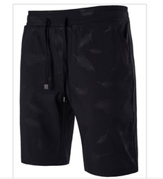 Wholesale Feathered Clothing - Men Short Pants Summer Feather Printing Knee Length Capri Pants Casual Bottom Clothing Plus Size M-5XL