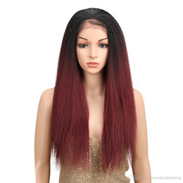"""Wholesale new yaki - New Sexy Free Parting Ombre Burgundy 26"""" Long Straight Synthetic Hair Lace Front Wigs For Black Women Yaki lace Wig With Baby Hair"""
