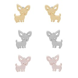Wholesale wholesale tins for dogs - Hot Sale Dog Animal Earrings Chihuahua Stud Earrings Cute Pet Dog Studs Jewelry For Women Fashion Earrings