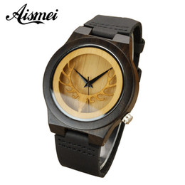 Wholesale Head Tags - 2018 Deer Head Hollow Design Men Women's Bamboo Wooden Watches Luxury Fashion Wood Quartz Watch With Black Genuine Leather Strap