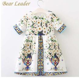 Ours Leader Filles Robe De Printemps Marque Marque Robes Princesse Européen Et Américain Style Fleurs Impression Vêtements Pour Enfants ? partir de fabricateur
