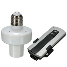 Wholesale remote control lamp holder - E27 Lamp Bulbs Bases 10M 220V Light Lamp Bulb Screw Holder Cap Socket Switch With Wireless Remote Controls