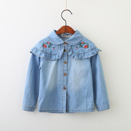 Wholesale 2t Girls Jeans - New Fashion Denim Girls T-shirt LongSleeve Girl Shirts Jeans Blue Children Clothes Long Sleeve Cowboy Girl's Tops strawberry Shirt A8364