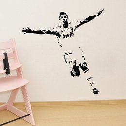 Wholesale Wall Decal Figures - Brand New Football Sports Figures Wall Stickers Living Room Bedroom Home Decoration Vinyl Wall Paper Waterproof Decal Murals