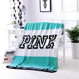 Wholesale fleece textiles - Hot Sale PINK Letter Blanket For Home Textiles bath beach towels travel outdoor sports towels soft office cover