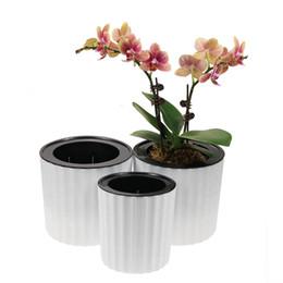 Piantagioni per orchidee online-Vendita all'ingrosso nuovo vaso di orchidea di design con maglia e fori, vaso in plastica rotondo per irrigazione per piante da interno e fiori