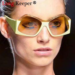 a6ca59aebada2 LongKeeper Fashion Big Sunglasses Cool Stylish Personality Irregular Sun  Glasses Female Cateye Eyewear Big Frame Female UV400