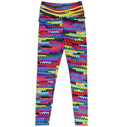 2019 strickgamaschen Neue Original Knit Printing Leggings mit 2 gelben String auf Taille und bunten String Front Drop Versand Legging 2018 günstig strickgamaschen