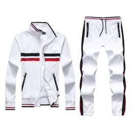 Wholesale Cheap Tracksuits - Wholesale-men's full zip polo tracksuit men sport suit cheap men sweatshirt and pant set sweatsuit men new