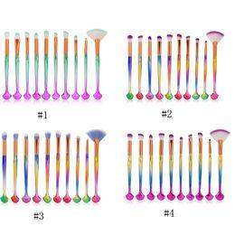 Wholesale Wholesale Eye Brow Brushes - MAANGE 10pcs Shell Makeup Brush Kit Rainbow Eyeshadow Brow Eyeliner Eye Lashes Lip Foundation Cosmetic Make Up Brush Beauty Tool 3001259