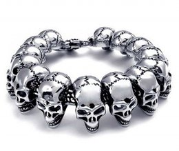 Wholesale Skull Polish - Mens Stainless Steel Large Skull Link Bracelet Biker Gothic Style Silver High Polished Wristlet Jewelry Support FBA Drop Shipping G822R
