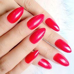 Pregos acrílicos doces on-line-Doces Vermelho Unhas Postiças Moda Pointed Acrílico Falso Nails Curto Stiletto Dicas de Cobertura Completa DIY Manicure Produtos