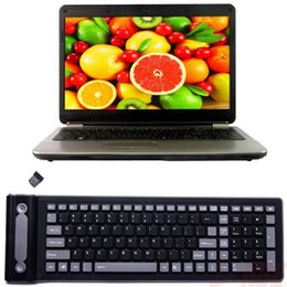 rollen usb Rabatt Portable Soft Tastatur 107 Schlüssel USB Drahtlose Silikon Tastatur Roll Up Flexible Wasserdichte Falten Tasche Typ Tastatur für PC Laptop Tabletten