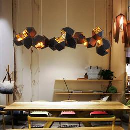 Wholesale Dna Pendant Light - Modern Pendant lamp metal DNA molecule 3-14head designers villa light luxury bar top polygon droplight chandeliers