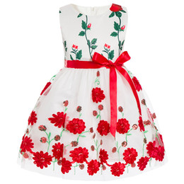 Wholesale costume gowns - baby girl dresses Embroidery Floral 2018 kids girls TuTu Wedding Dresses for Girls Costume Ball Gowns Sleeveless Girl Evening Dresses