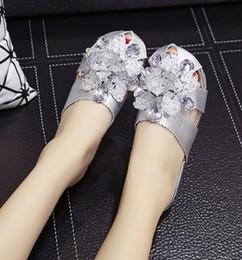 Wholesale Worn Flip Flops - Cool slippers female summer fashion Baotou half slippers outside wearing 2018 summer new fashion flat hollow diamond flat shoes