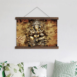 Dipinti inchiostro online-Living Room Scroll Paintings India Immagini Ganesha Hanging Canvas Elephant Trunk God Poster Inchiostro impermeabile HD Immagine Home Decor