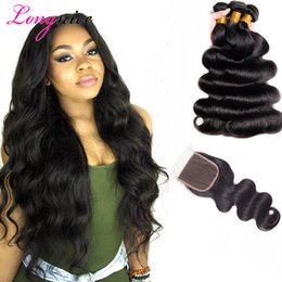 Wholesale queens peruvian hair - Gaga Queen Malaysian Body Wave 3 Extension Bundles With Lace Closure UNPROCESSED Brazilian Peruvian Indian Virgin Human Hair Wefts Dyeable
